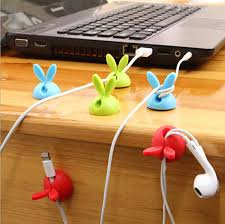 1lot 4pc rabbit cable drop clip desk tidy organiser wire cord usb charger holder