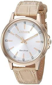 women s citizen chandler crystallized tan leather band 37mm watch fe7033 08a loading zoom