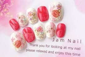 টইটর Jam Nail 浴衣振袖にオススメ桜模様白と赤と