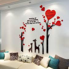 acrylic bedroom furniture. 3D Love Deer Romantic Tree Acrylic Wall Stickers Bedroom Furniture Living Room Sofa TV Backdrop Home