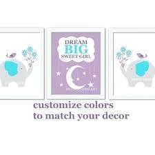 elephant wall art for nursery baby girl nursery wall art purple teal lavender elephant dream big