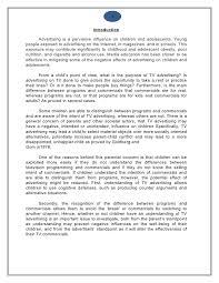 Effect Of Advertisements On Children Essay Term Paper Academic