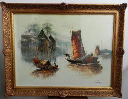 large vintage oil painting ornate frame chinese junk fishing boats signed