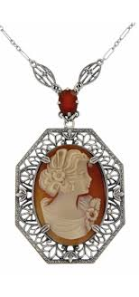 antique style jewelry and gifts hand carved italian shell cameo and carnelian filigree necklace sterling silver fn 346