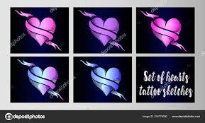 Velký Set Vektorové Skici Tetování Jasný Neonové Srdce Stylu Starých