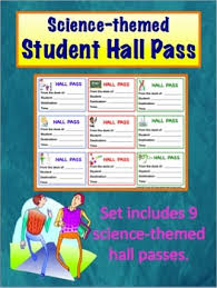 Student Hall Pass Science Themed Student Hall Pass