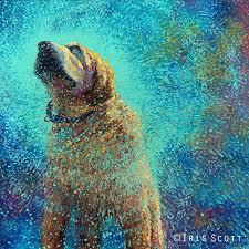 iris scott original oil painting still shakin off the blues is a modern impressionist fingerpainting