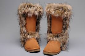 women ugg fox fur boots 5815 chestnut for sale