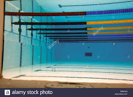 underwater view of the empty pool at the water cube 2008 olympic venue in beijing