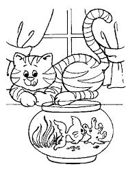 Huisdieren Kleurplaten Poes En Vis
