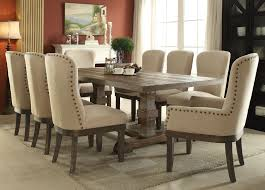Pedestal Dining Table Set Acme 60737 Landon 9pcs Salvage Brown Pedestal Dining Set With Leaf