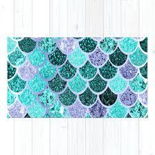 under the sea rug mermaid scales teal purple by