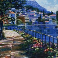 howard behrens signed sunlit stroll limited edition 27x17 hand embellished giclee on canvas at