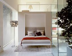 Bedroom White Stained Wooden Kingsize Murphy Bed With Storage