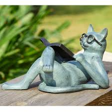 cat garden statue. Literary Cat Garden Statue N