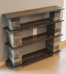 concrete block furniture ideas. Three Tiered Of DIY Concrete Block Bookshelf With Old Reclaimed Wood Racks On Cream Glossy Floor At Soft Grey Wall Theme Furniture Ideas S