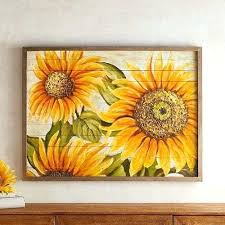appealing sunflower wall decor best design interior planked sunflowers pier 1 imports for kitchen metal art