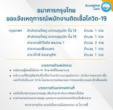 Krungthai Care - ธนาคารกรุงไทย ขอแจ้งเหตุการณ์พนักงานติดเชื้อโควิด-19  รายละเอียดเพิ่มเติม คลิก :  https://krungthai.com/th/krungthai-update/news-detail/759 กรุงเทพฯ -  สำนักงานใหญ่ อาคารสุขุมวิท ชั้น 14 จำนวน 1 ราย - สำนักงานใหญ่ อาคารสุขุมวิท  ชั้น 19 ...
