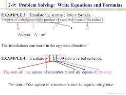 2 9 problem solving write equations and formulas william james calhoun
