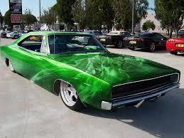 classic car with custom paint job