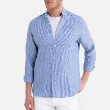 <b>Рубашка узкого</b> покроя в полоску с воротником-стойкой в полоску ...