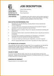 Job Descriptions For Resume Cover Letter Sales Associate