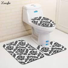 zeegle 3pcs bathroom mat set european style bath mat anti slip bathroom rug soft foam toilet