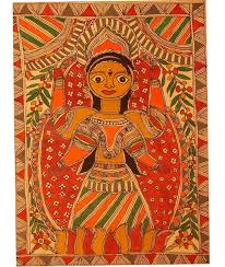madhubani mithila folk painting lakshmi on lotus