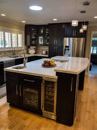 Modern l shaped kitchen island with cabinet storage