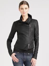 lyst vince scuba leather jacket in black