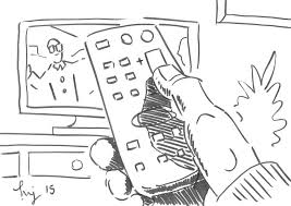 remote control drawing. television drawing - watching tv using the remote control cartoon goggle box by mike jory h
