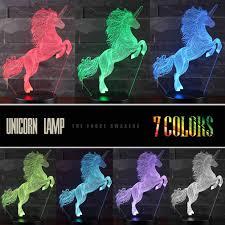 3d Unicorn Night Light 3d Unicorn Lamp Three Pattern And 7 Colors