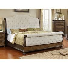 Tufted upholstered sleigh bed Size White Blackshear Upholstered Sleigh Bed Overstock Button Tufted Sleigh Bed Wayfair