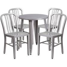 slat back chairs. 24\u0027\u0027 Round Silver Metal Indoor-Outdoor Table Set With 4 Vertical Slat Back Chairs