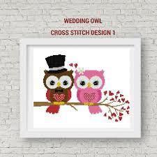 Wedding Cross Stitch Patterns Mesmerizing Wedding Cross Stitch Pattern Owl Wedding Cross Stitch PDF Etsy