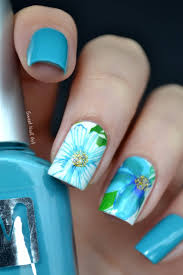Blue Flower Nail Designs 55 Most Stylish Flower Nail Art Design Ideas