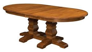 amish bradbury double pedestal dining room table solid