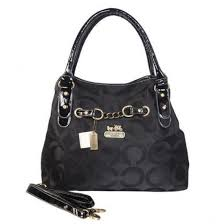 Coach Chain Logo In Monogram Medium Black Satchels 21073
