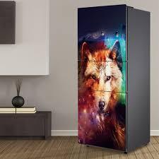 3D <b>Creative abstract Wolf</b> Refrigerator Sticker Fridge Door Cover ...