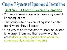 1 section 7 1 solving systems by graphing 2 or more linear equations make a
