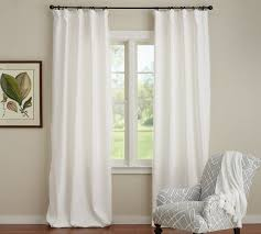 Beautiful Black And White Curtains Emery Linencotton Drape Pottery Barn Inside Decorating