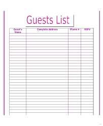 Wedding Guest List Template Editable Word Enticing Photos