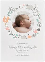 Baby Announcement Cards Bandits Wreath Baby Announcement Little Cube For