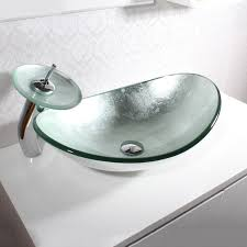 silver oval boat shaped tempered glass vessel sink faucet set for bathroom