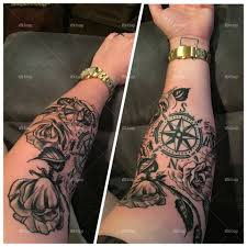 Foapcom Compass And Rose Tattoo With Idaho Outline By The Wrist