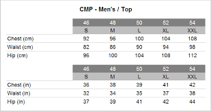 Cmp Size Chart Cmp Ms 1 2 3 Zip Hood Jacket Outdoor Sports Bike And