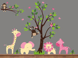 endearing image of kid bedroom wall decoration using animal pink and yellow jungle tree wall decals
