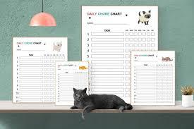 Cute Cats With Big Eyes Kids Chore Charts Printable Responsibility Chart Chores Reward Chart Job Chart Digital