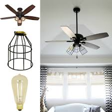 give your ceiling fan an industrial update make a hanging light in under 10