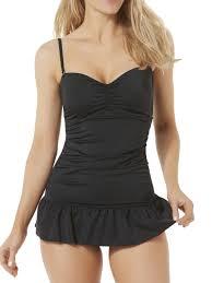 Tropical Escape Womens Black 1 Piece Ruched Swimsuit Ruffled Swim Suit Dress